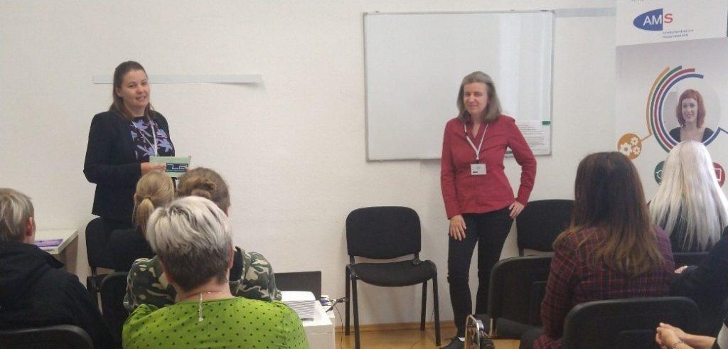 P.Qu Vernetzungstreffen: Mag.a Elisabeth Grünmann und Petra Fellner (beide P.Qu, ZIB Training)